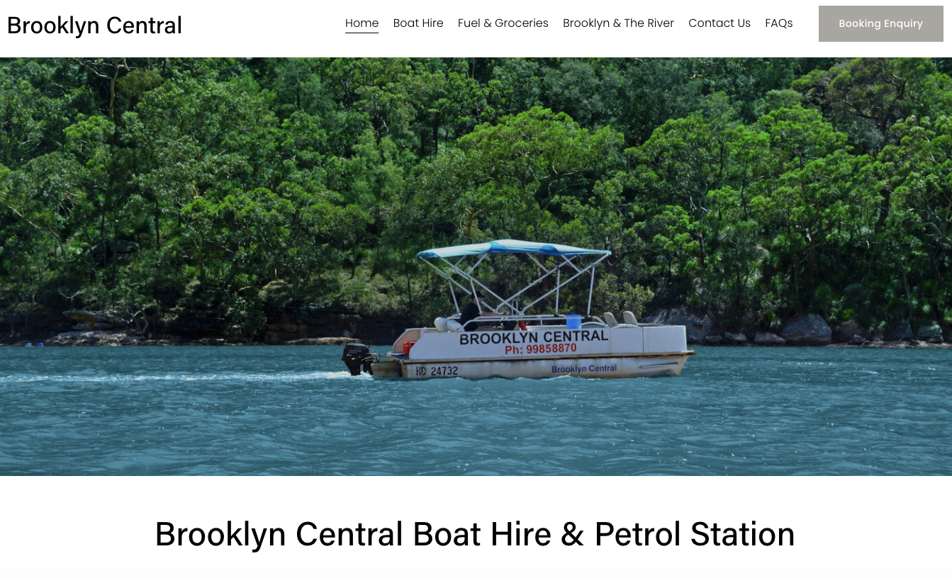 Home Page of New Brooklyn Central Boat Hire Business Website