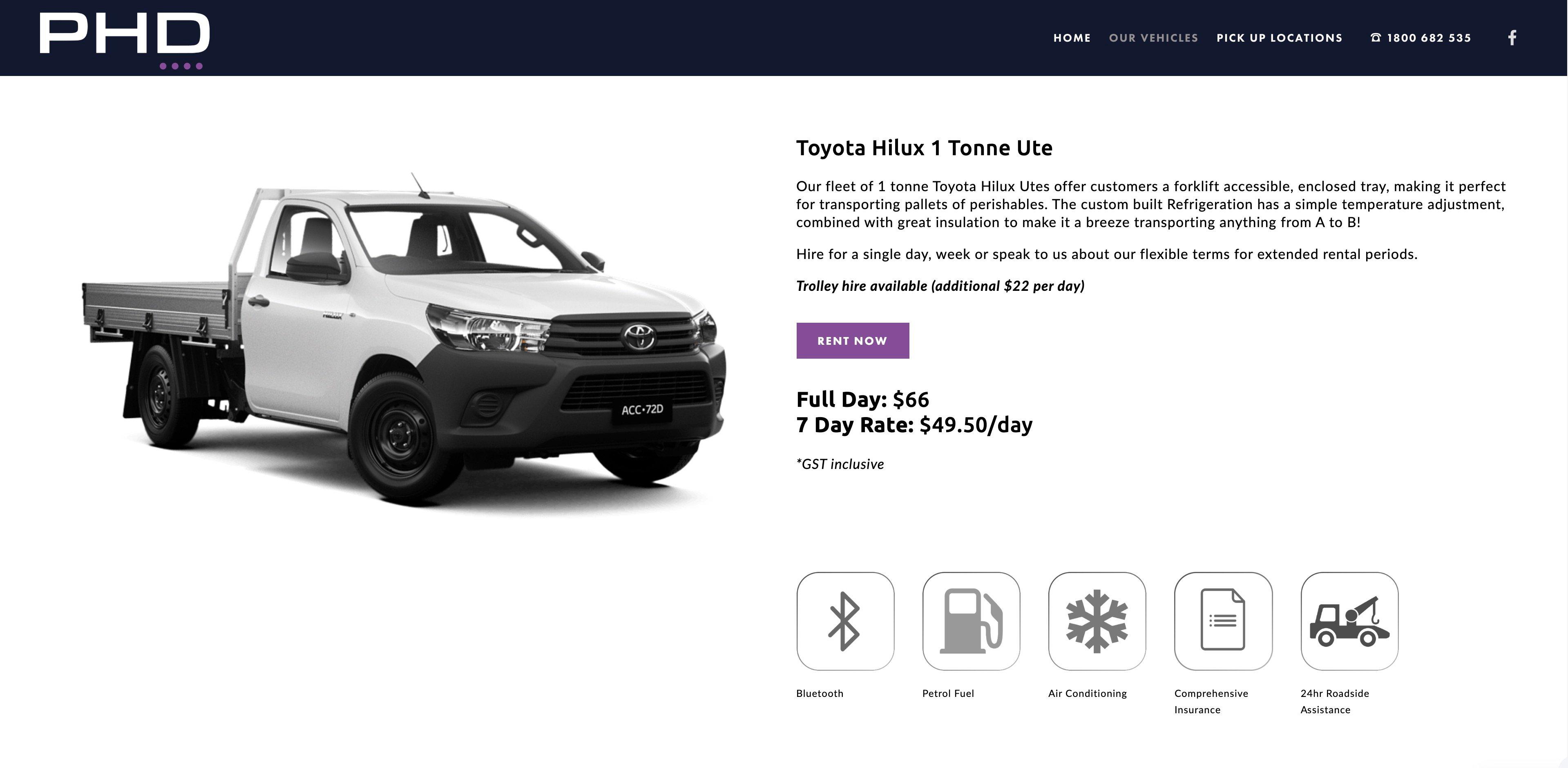 Vehicle details page - PHD Van Rentals